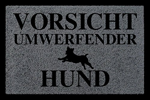 FUSSMATTE Eingang VORSICHT UMWERFENDER HUND Tierisch Schmutzmatte Dunkelgrau
