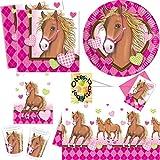 Horses Pferde Party-Set 49tlg. Teller Becher Servietten Tischdecke Einladung Tüten für 6 Kinder