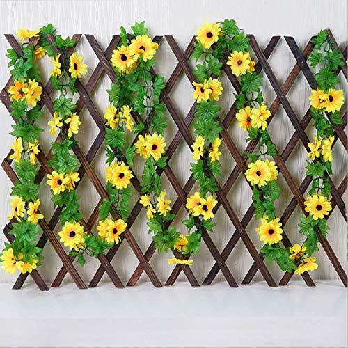 ünstliche gelbe Sonnenblume Girlande Rattan Seide Simulation gefälschte Hochzeit Blumen Bogen Pavillon Dekor Reben ()
