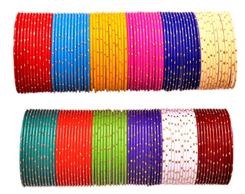 Shubh Adarsh 12 Multi Colours Gorgeous Alloy Metal Bangles For Women & Girl (2.8)