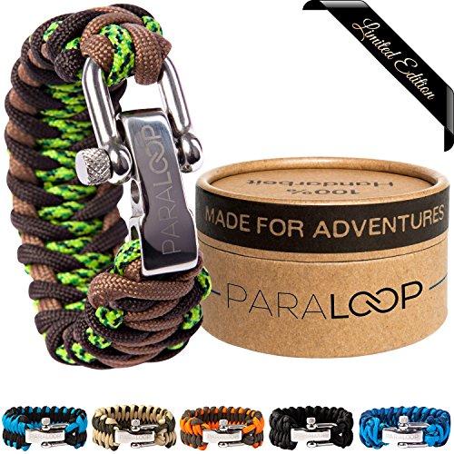 PARALOOP® - Das ORIGINAL - Survival Paracord-Armband - inkl. GESCHENKVERPACKUNG - 100% Handarbeit - mit verstellbarem Edelstahlverschluss - für Outdoor-Liebhaber