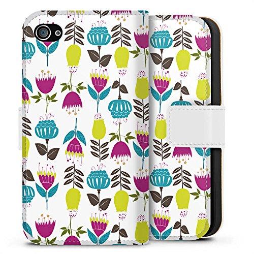Apple iPhone X Silikon Hülle Case Schutzhülle Tulpen Flower Muster Sideflip Tasche weiß