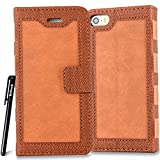 BtDuck Leather Solid color Suede Case Apple iPhone 5 / 5S / SE Retro Fashion Notebook Vintage Orange Suitable For Model Personality Attractive Phone Stand Protector Flip Folio Cover Anti-slip Skin Outdoor Protection Simple Strict Shockproof Heavy Duty Robust Bumper Case Shell with Stander Oyster Card ( Travel Card Bus Pass ) Holder Slots Pocket Kickstand Function Magnetic Closure Family Photo Folder + 1 * Black Stylus Pen Black