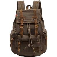 Vintage Unisex Casual Leather Backpack Canvas Rucksack Bookbag Satchel Hiking Backpack Travel Outdoor Shouder Bag (Brown…
