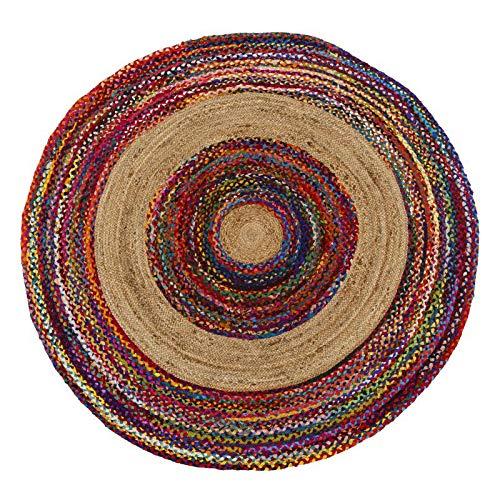 Tapis Multicolore Jute/Coton 150 * 150 - SOTALI - L 150 x l 150 x H 0.5 - Neuf