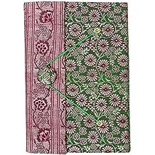 IBA WITH WORD INDIANBEAUTIFULART 5,5 x 8 Pulgadas Sari Cubierta Hecha a Mano del
