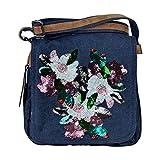 yourlifeyourstyle Umhängetasche Canvas Style mit aufwendigem Blumen aus Paillettenstickerei - Maße 28 x 29 cm - Damen Mädchen Teenager Tasche (Blau)