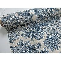 Confección Saymi - Metraje 0,50 mts. tejido loneta estampada Toile de Jouy Ref. Romantica Azul, con ancho 2,80 mts.