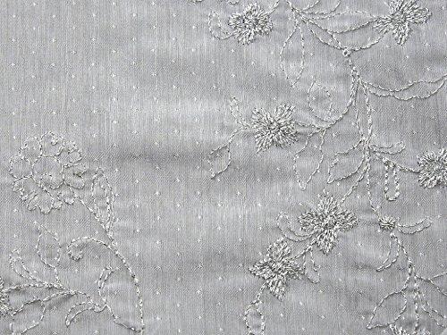 Bestickte Baumwoll-voile Kleid (Floral Lurex bestickt Baumwolle Voile Stoff Weiß-Meterware)