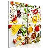 decomonkey | Bilder Küche 60x60 cm | 4 Teilig | Leinwandbilder | Bild auf Leinwand | Vlies | Wandbild | Kunstdruck | Wanddeko | Wand | Wohnzimmer | Wanddekoration | Deko | Gewürze Kräuter Gelb weiß