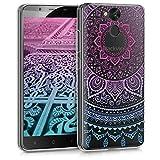 kwmobile Blackview P2 / P2 Lite Hülle - Handyhülle für Blackview P2 / P2 Lite - Handy Case in Blau Pink Transparent