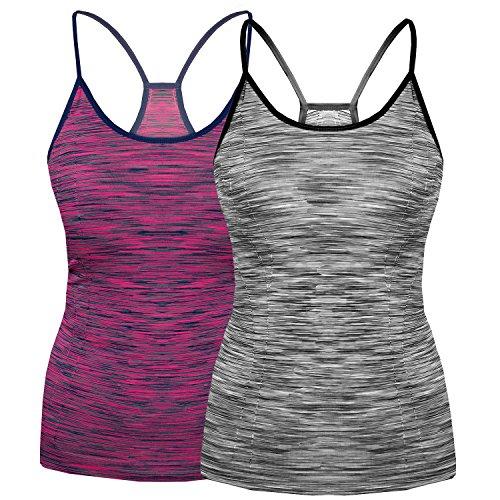 Spaghetti-stretch-unterhemd (Bongual 1-2 Slim Fit Damen Running Sporttop Ringerrücken Unterhemd Stretch Sommer-Top Fuer Yoga, Fitness (36/38(L/XL), Melange+Magenta))