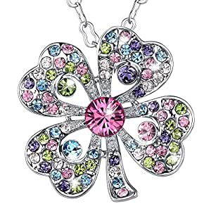 Marenja cadeau no l collier fantaisie femmes pendentif tr fle quatre feuilles porte bonheur - Bijoux porte bonheur pour femme ...