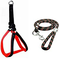 MS Petcare Nylon Padded Adjustable Dog Harness 1.25 Inch Black, Red and Rope Leash 18 MM for Large Dogs (Color May Vary)