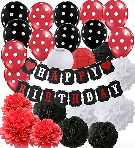Mickey Mouse Geburtstag Party Dekorationen Weiß Rot Schwarz Geburtstag Party Dekorationen Minnie Mouse Party Supplies Seidenpapier Blumen Papierlaternen für alles Gute zum Geburtstag Dekorationen (Mickey Und Minnie Maus Geburtstag Party Supplies)