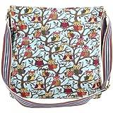 Anladia Cartoon owl print Canvas shoulder bag cross body messenger cloth bag