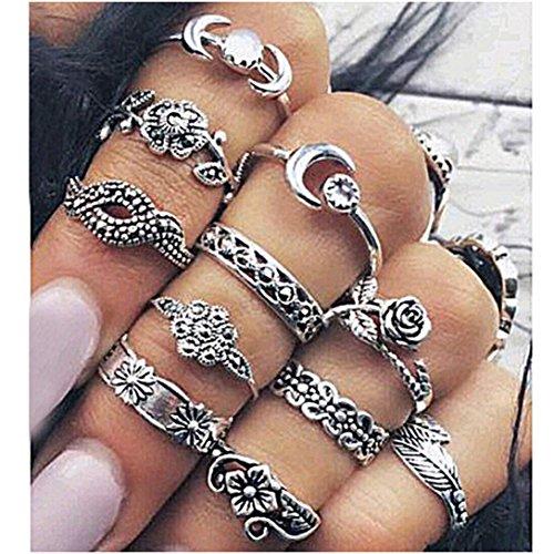 Yinew 11Pcs Damen Knuckle Ring Set Vintage Midi Retro Rose Blume Diamanten Ringe Schmuck (Rose Blume Ring)