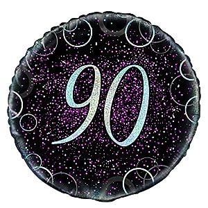 Unique Party- Globo foil de 90 cumpleaños, Color rosa metálico brillante, 45 cm (55801)