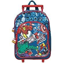 Perletti - Trolley de niño Marvel Comics Los Vengadores - Mochila con ruedas y correas con estampado de Spider-man, Hulk, Iron Man y Capitán América - 31 x 23,5 x 13 cm