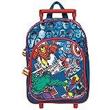 Trolley da bambino Marvel Comics - zainetto trolley con ruote e bretelle regolabili per asilo e scuola elementare con stampa di Spider-man, Hulk e altri personaggi del film, Perletti 31x23,5x13 cm