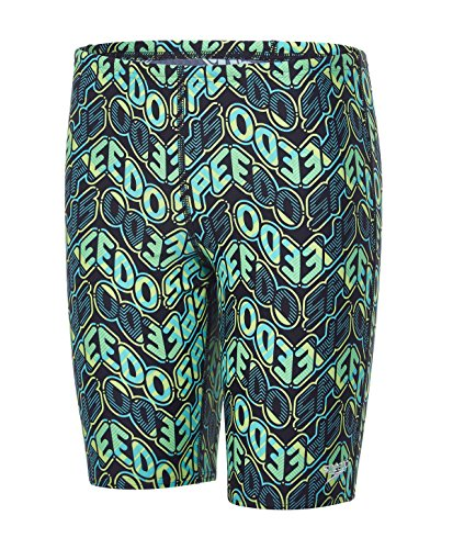 Speedo Jungen Pop Science Allover Jammer Swimwear, türkis (Jade/Black/Apple Green), 164