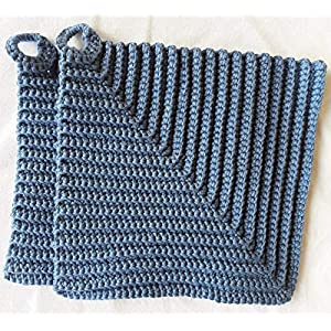 dicke klassische gehäkelte Topflappen, ca. 19 x 19 cm jeansblau