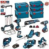 Kit Bosch PSL8WGP4A (GST 18 V-LI + GHO 18 V-LI + GKS 18 V-LI + GSA 18 V-LI C + GLI VariLED + GSR 18 V-EC + GDX 18 V-LI + GOP 18 V-EC + Ladegäret AL1860CV + 4 Batterien x 5,0Ah + 3 x L-Boxx Koffer 238 + 2 x L-Boxx Koffer 136 + Caddy + Zubehör GOP 18 V-EC)