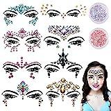 Viso Gemme - 8 Pz Gemme Strass Adesivi Strass e Gemme Festival Glitter Cristalli Adesivi Gialli Tatuaggi Temporanei per Sopracciglia Viso Corpo Gioielli