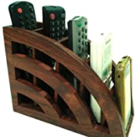 Dady Woods Crafts GOOD LINE SHOPPEE Handcraft Wooden Remote Stand Brown (20.3 x 8.3 x 15 cm)