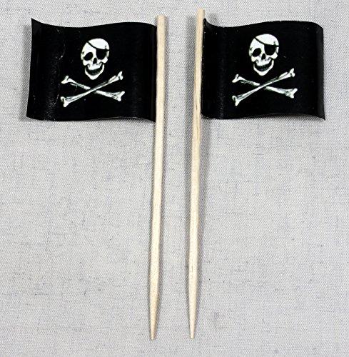 Party-Picker Flagge Pirat (1) Totenkopf Papierfähnchen in Profiqualität 50 Stück Beutel Offsetdruck Riesenauswahl aus eigener Herstellung (Piraten Beutel)