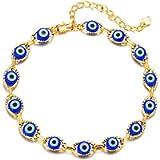 Evil Eye Blue Bracelet Anklet for Girls,14K Gold Plated Turkish ojo Mati Bracelet Anklet Chain Jewelry Gift