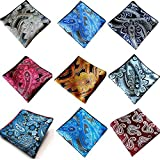 Weishang Mens Printing patterns Pocket Square Handkerchief Wedding Party(pack of 9) (Style 7)