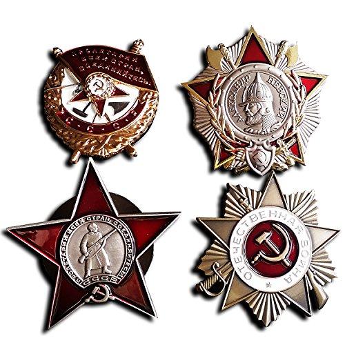 Goldbrothers13 4x, Um von Rot, Banner,-Newski-, Red Star & Vaterländischen Krieg Russische Buttons - Britische Marine Kostüm