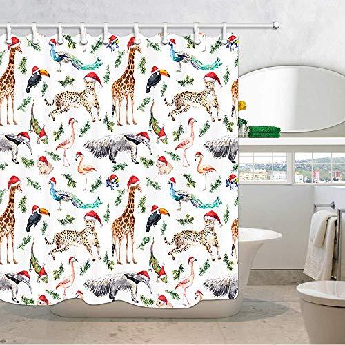 ang niedliche Giraffe Flamingo Leopard Tukan Kinder Kindergarten Baby unter Motto Cartoon Comic Print Dusche Cutains Badezimmer wasserdichtes Gewebe Bad Vorhang enthalten 71X71in ()