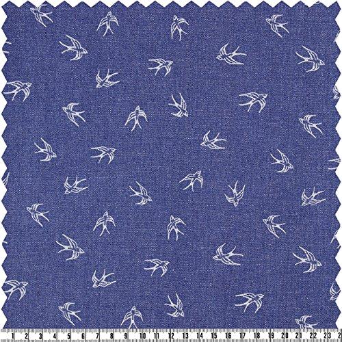 Jeans-Schwalben, hellblau, ca. 135 cm breit, Meterware (Elasthan Floral Jeans)