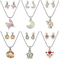 Powerking Collana per Bambini e Orecchini a Clip, 6 Set Collezione di Gioielli per Bimbi e Bambina Princess Dress Up…