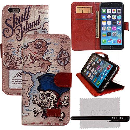 """xhorizon® Neu BlumenblattStil Brieftasche Folio Flip Magnet Stand Ledertasche Case Hülle mit Kreditkarteninhaber für Apple iPhone 6 Plus (5.5"""") mit Stift und xhorizon Reinigungstuch #11"""