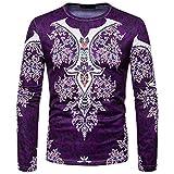 ZIYOU Herren Afrikanischen 3D Drucken Langarm Sweatshirt Top, Herbst Winter O-Ausschnitt Pullover T-Shirt Longsleeve Freizeit Pulli (M,Violett)