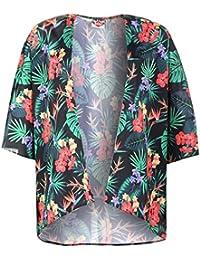 Lee Cooper Tropical Floral Print Kimono – azul marino camisa blusa chaqueta, azul marino, UK 8 (XSmall)