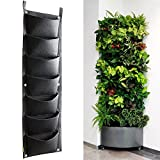 Planting Bags Vertical Planter Wall mounted Wall Hanging Gardening Planter 7 Pockets Grow Bags Plant Pouch Hanging Flower Bags for Yards, Apartments, Balconies, Patios, Schoolyards and Community and Rooftop Gardens Black
