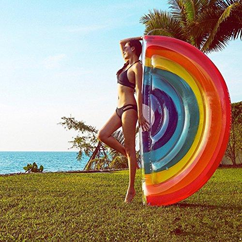 LUSTAR Aufblasbares Regenbogen-Pool-Floss Swimmingpool-Floss-riesige Regenbogen-Sich Hin- Und Herbewegende Reihe Aufblasbare Ruhesessel-Pool-Party-Dekorations-Sommer-Geschenke Für Erwachsene Kinder