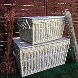 Dos Blanco cesta Baúles, mimbre de 80cm y 60cm, cesta, cesta de baúl, White Wicker Chest Set, Wicker Trunk