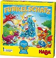 Haba 303402 - Funkelschatz Brettspiel, lustiges Mitbringspiel für 2-4 Spieler ab 5 Jahren, mit 90 Funkelsteine