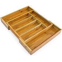 Relaxdays 10016098 Range-Couverts extensible en Bambou de 5 à 7 compartiments HxlxP : 5 x 48,5 x 37 cm tiroir de cuisine…