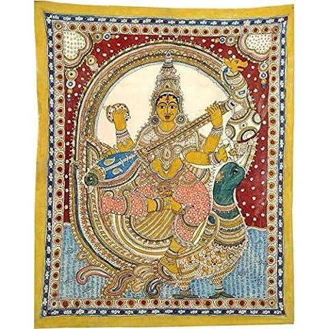 Gangesindia le Kalamkari dea Saraswati 2382 cigno seduti su 119,38 cm, 96,52 cm, 0,51 cm Multicolor - Folk Art Wall Hanging