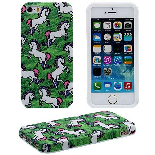 iPhone 5S Hülle Case Dünn und leicht, Tuch & Kunststoff Hybride Weich Muster Stil Hübsch Schutzhülle Handyhülle für Apple iPhone 5 5S SE 5G ( Schwarz ) - Don't Touch My Phone Grün