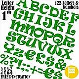 Profi-Pack von 122PCS X 2,5cm (2,5cm) Selbstklebendes = grün = Buchstaben & Zahlen Aufkleber gratis Interpunktion waschfest, große Beschriftung gebärdenschrift Wasser Proof jedes Projekt