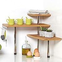 Bakaji Étagère d'angle pour Cuisine, 3 étagères, en Bois de Bambou, Structure en Acier, Meuble d'angle, Porte-épices…