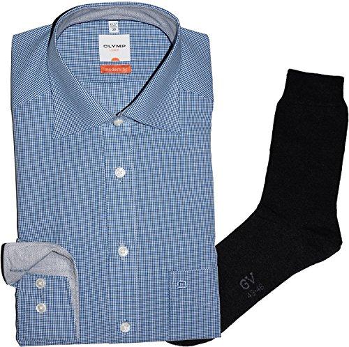 Olymp Hemd Luxor Modern Fit - blau-weiß kariert, blau ausgeputzt, langarm, New Kent + 1 Paar hochwertige Socken, Bundle Dunkelblau Kariert