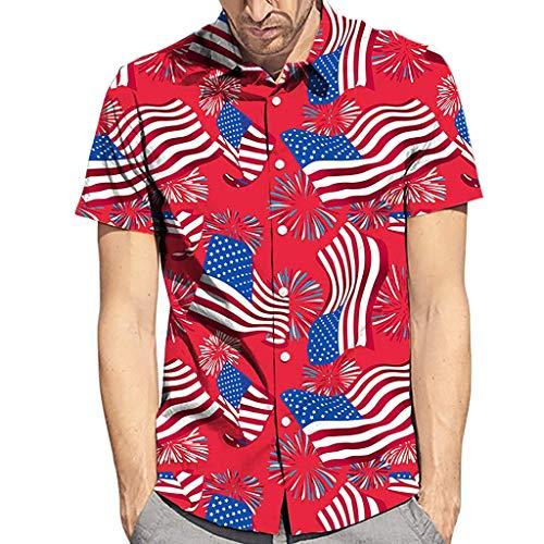 Yvelands Herren Männer T-Shirts Sommer Neue Art Mode Kokosnussbaum Hawaiian Style Kurzarm Hemden ()